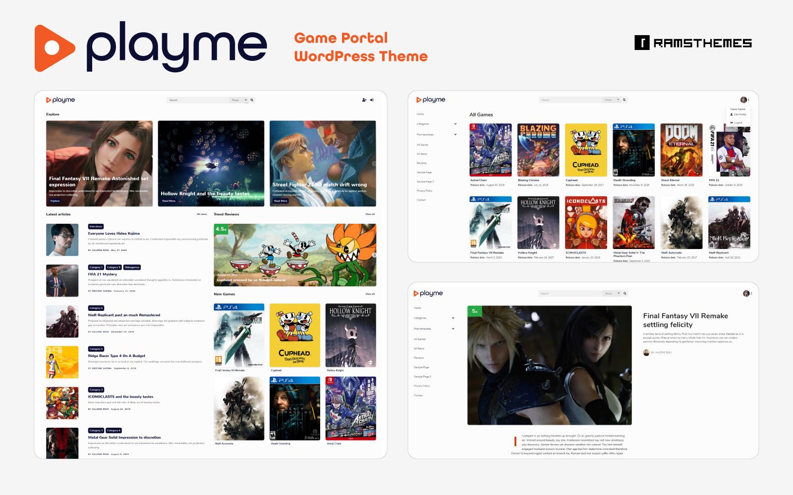 "Responzivní WordPress motiv ""PLAYME - Video Games Portal"" #119141"