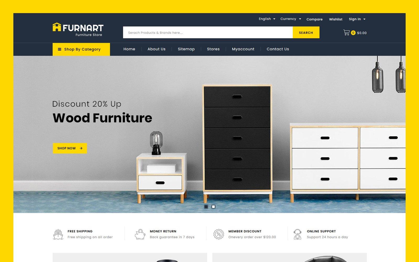 "Tema PrestaShop Responsive #119139 ""Furnart - Furniture Store"""