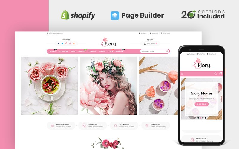 "Tema Shopify Responsive #119142 ""Flory Flower Store"""