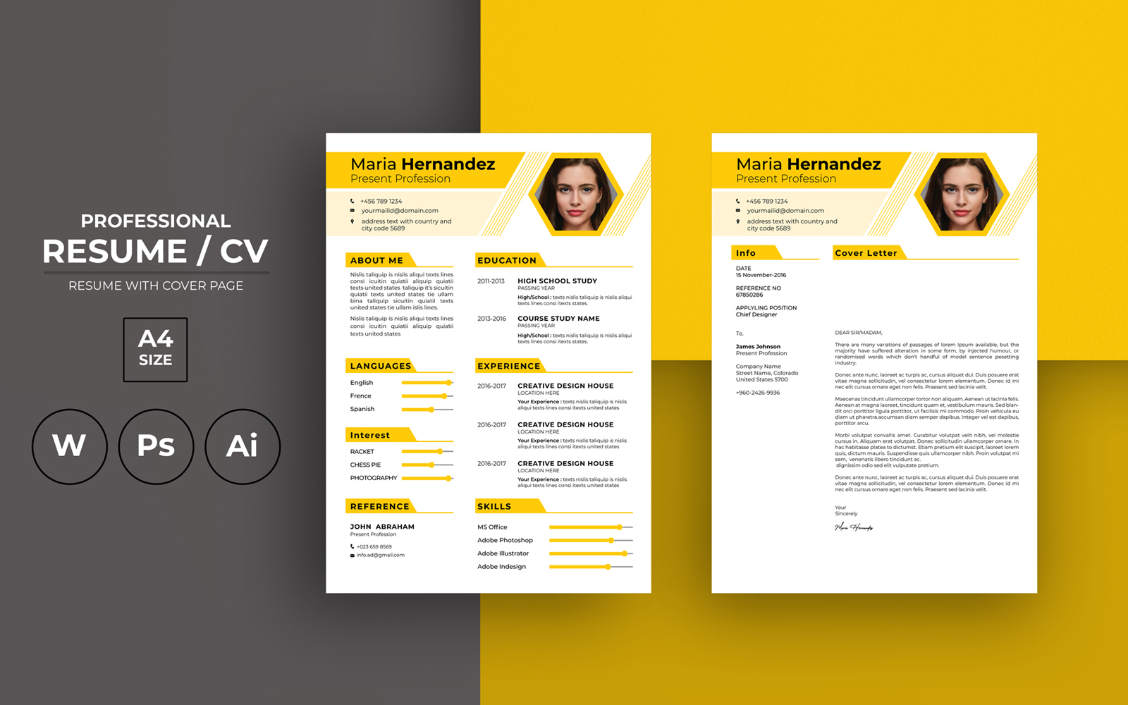 "Lebenslauf-Vorlage namens ""Minimal Creative Yellow CV"" #119257"
