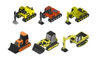 Set Of Isometric Excavators - Vector Image