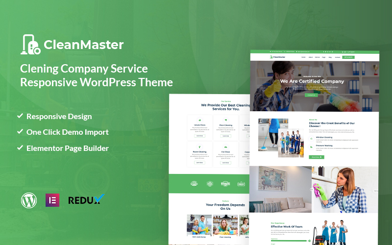 "Tema De WordPress ""Cleanmaster - Cleaning Service Responsive"" #119283"