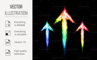 Three Colorful fire Arrows Directed Upward - Vector Image