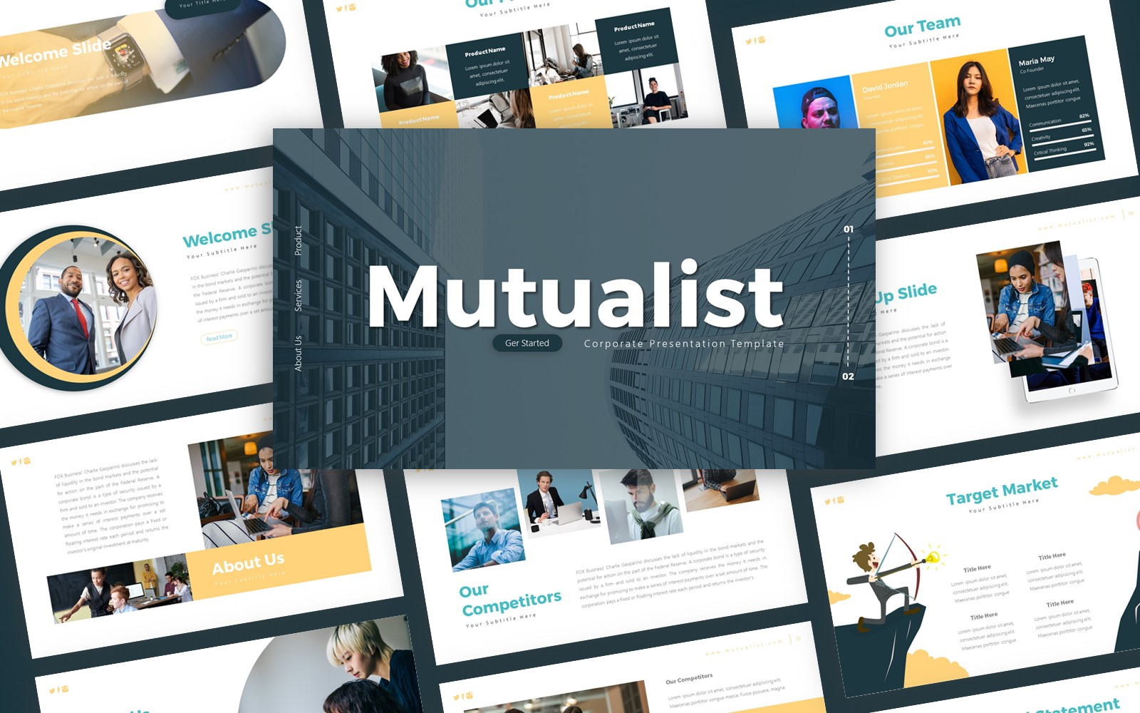 """Mutualist Corporate Presentation PowerPoint Template"" PowerPoint Template №119755"
