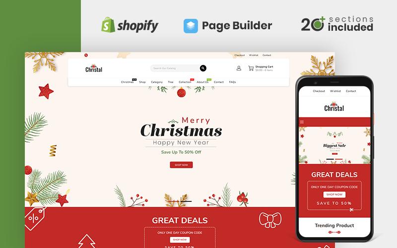 """Christal Christmas Store"" Responsive Shopify Thema №119814"