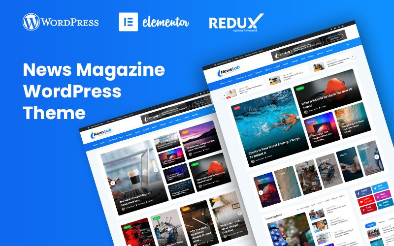 """NewsLab - News Magazine"" - WordPress шаблон №119822"