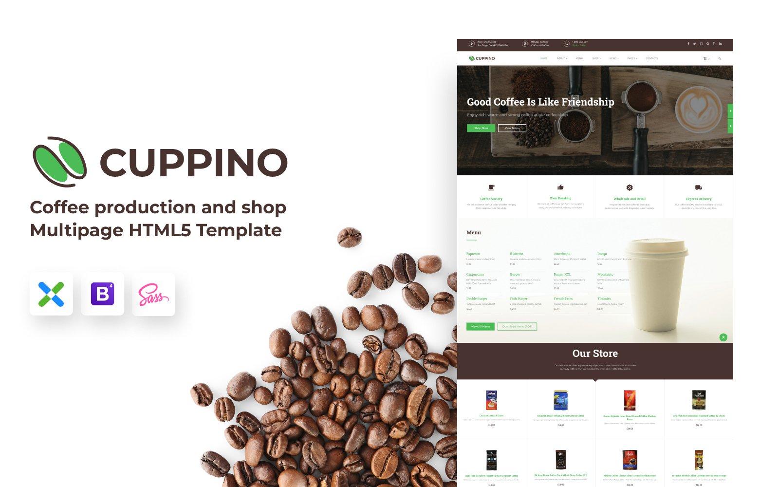 Reszponzív Cuppino - Coffee Shop HTML5 Weboldal sablon 119825