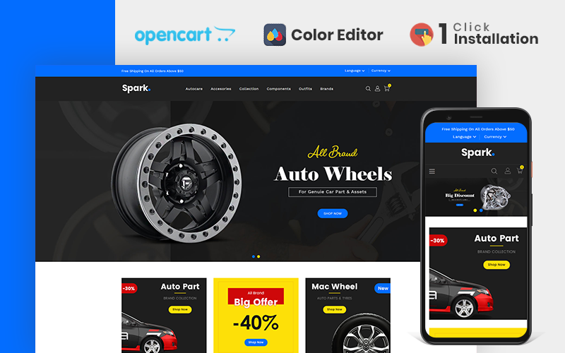 Spark Auto Parts Store OpenCart Template