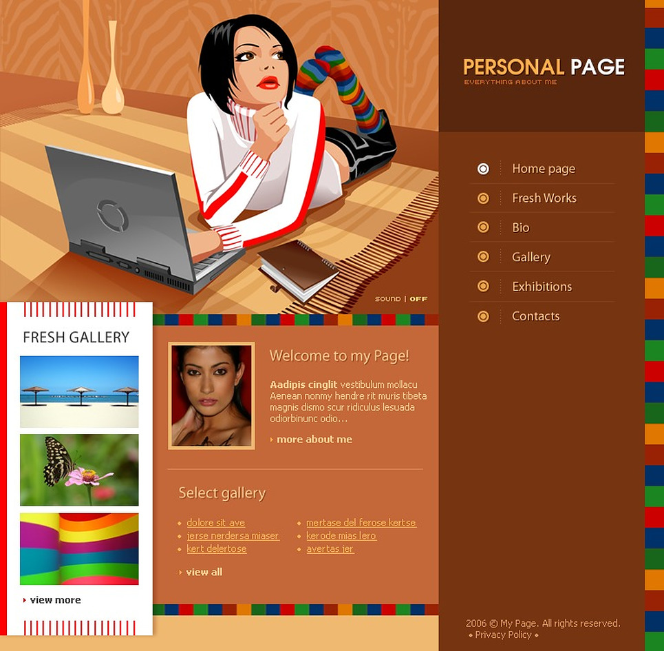 Flash vorlage 12095 f r pers nliche seiten for Personal profile design templates