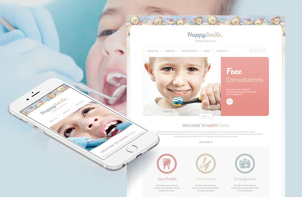 pediatric dentistry website template with teddy bears. Black Bedroom Furniture Sets. Home Design Ideas