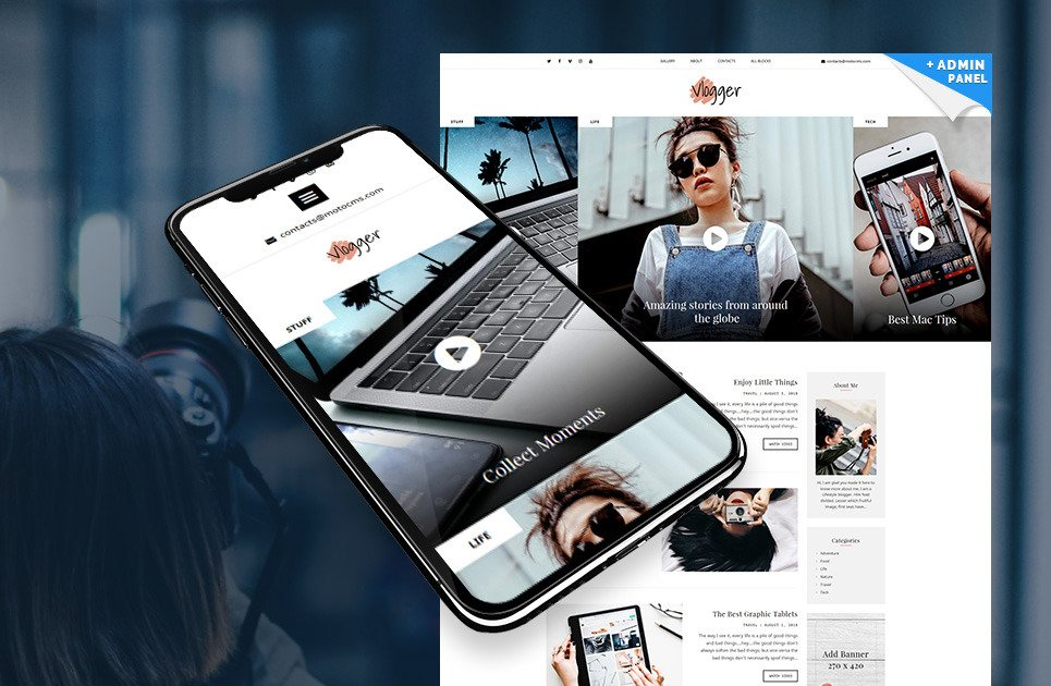 Landing Page Blogger Template for Video Bloggers   MotoCMS