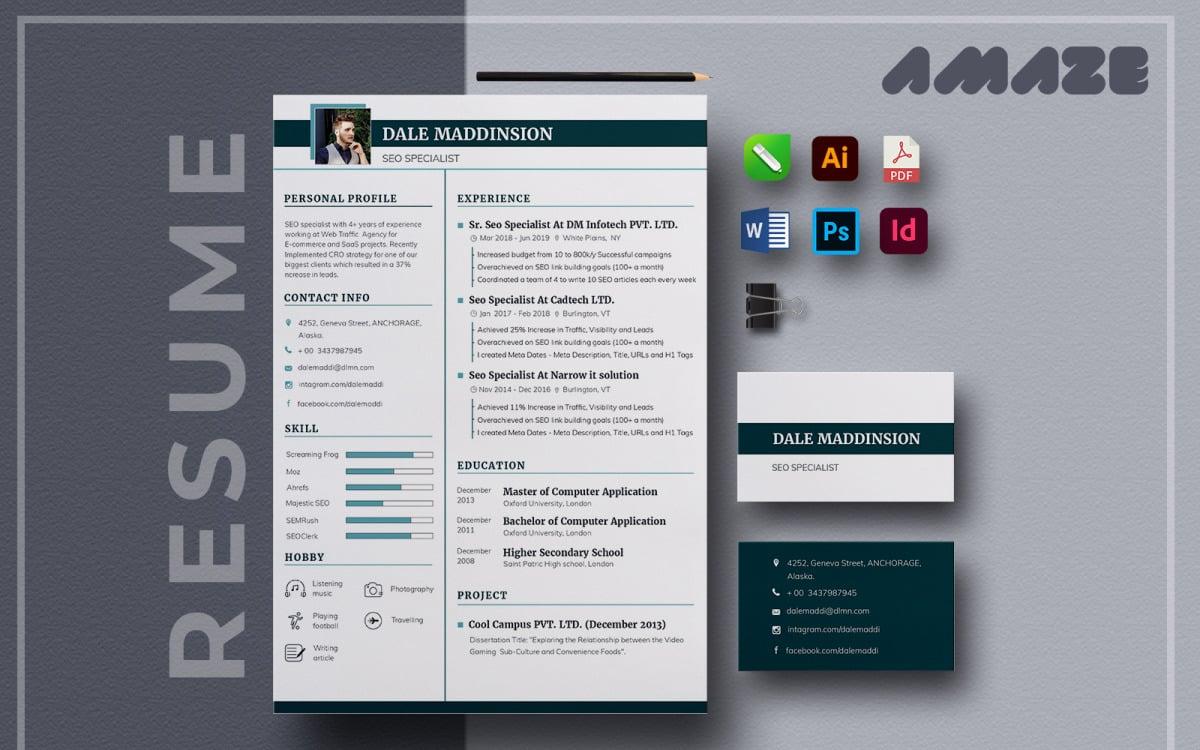 Amaze Multipurpose Printable Resume Template Cv Cover Letter Business Card