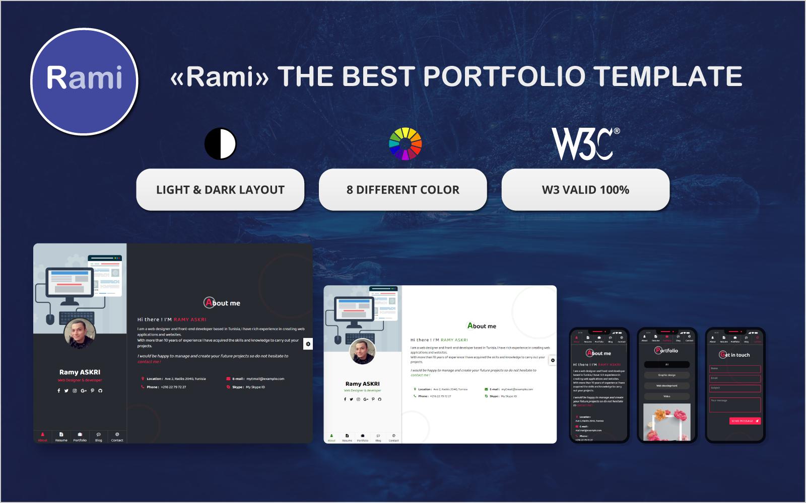 Rami Creative & Portfolio Landing Page Template