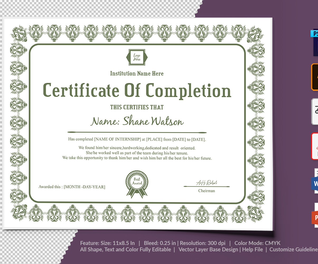 Completion Certificate Template from s.tmimgcdn.com