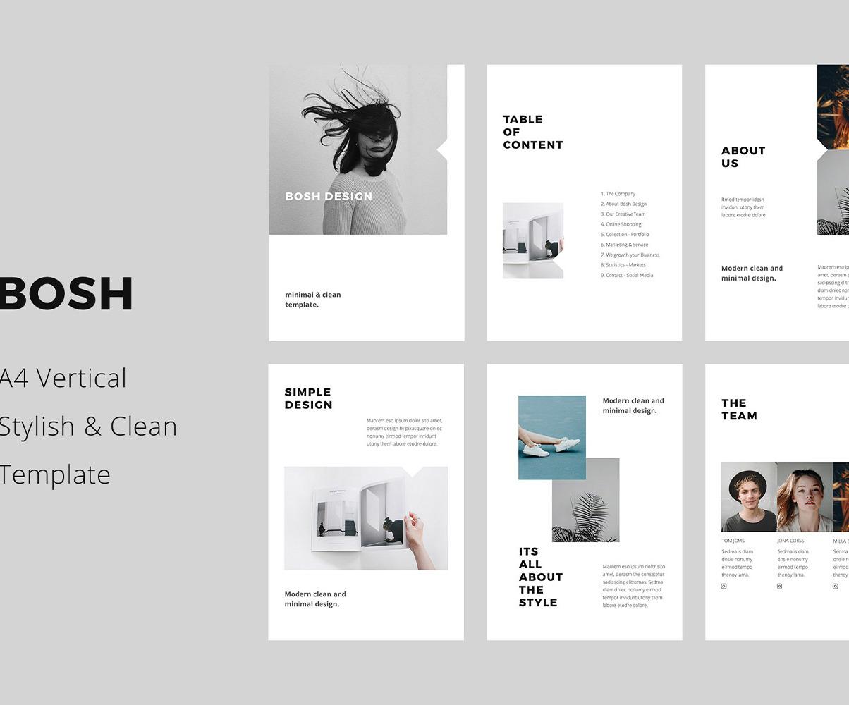 Bosh A4 Vertical Powerpoint Style Minimalist Template Presentation