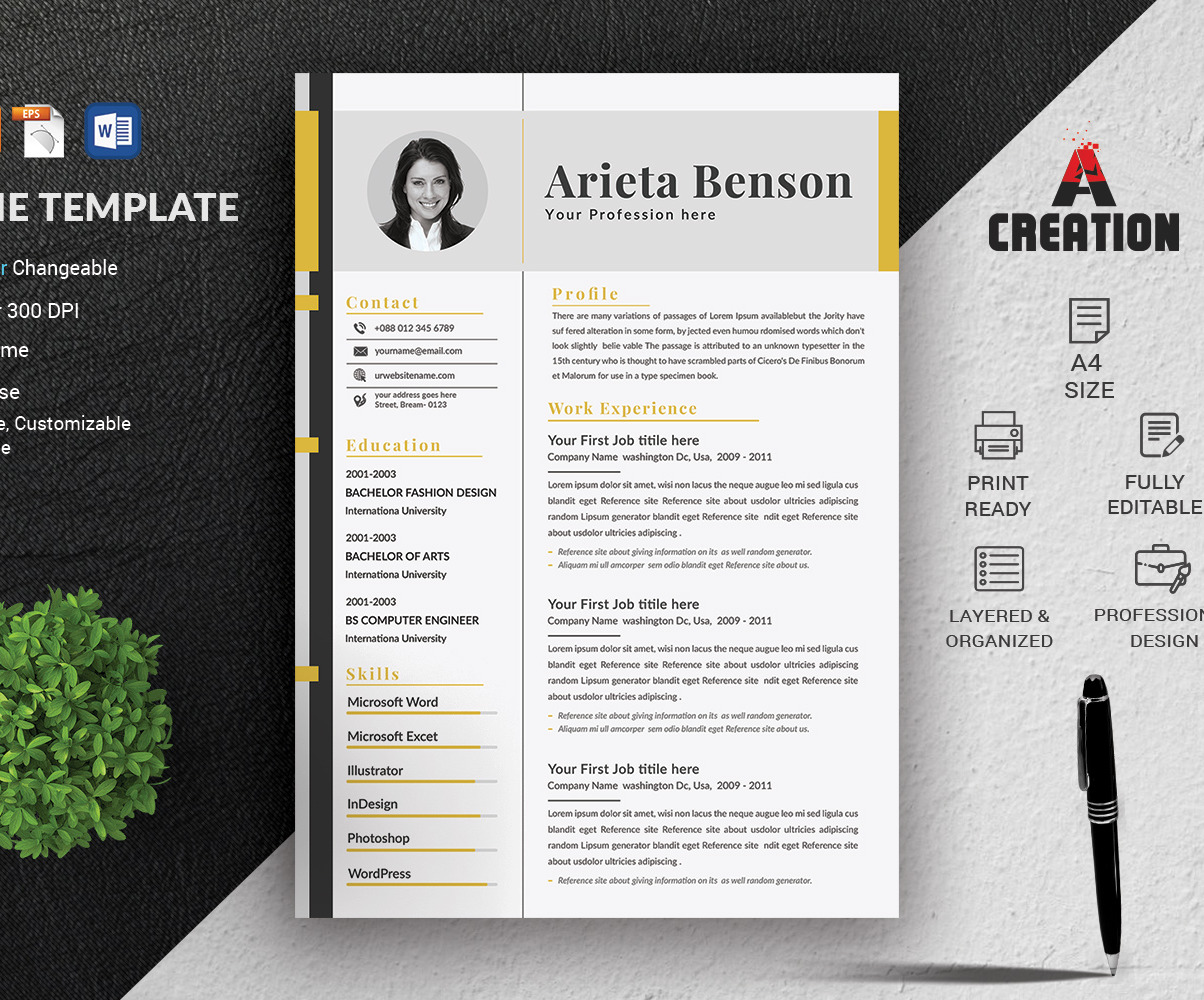Resume Cv Template Layout Texts And Colors Are Fully Editable