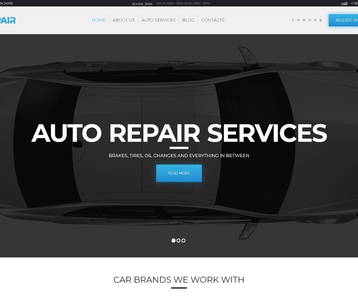 Carrepair Auto Repair Services Wordpress Theme
