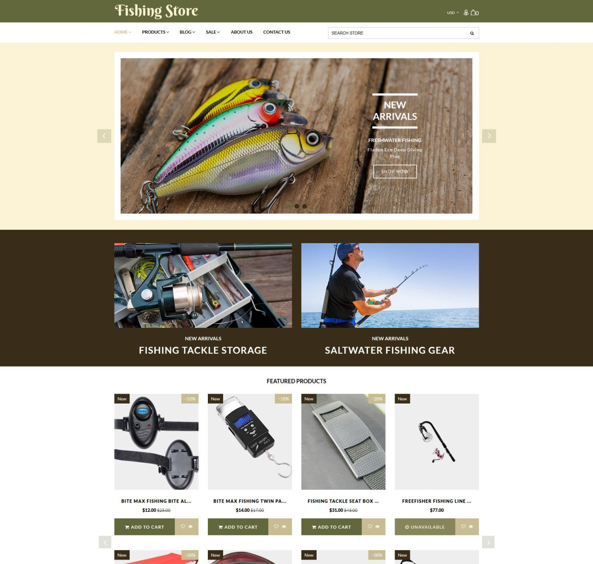 Fishing Supplies Equipment Shopify Template