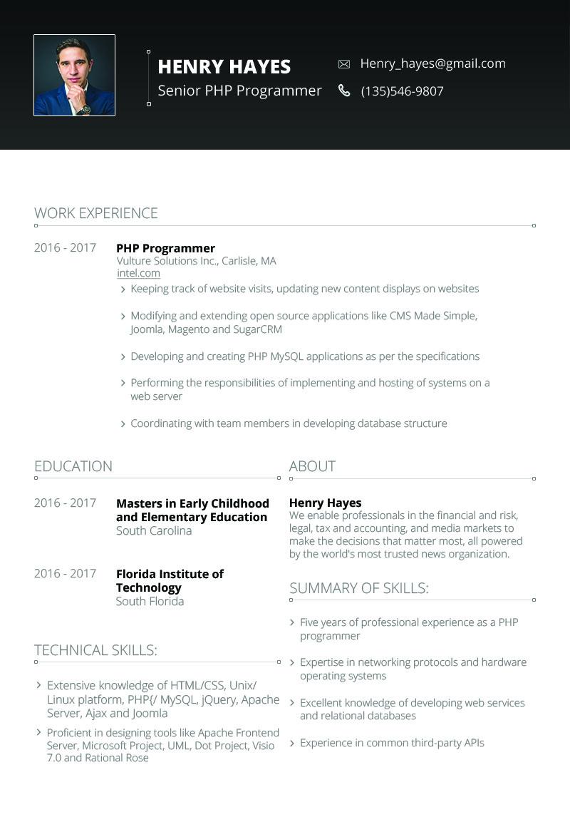 Henry Hayes Web Developer Resume Template 64898