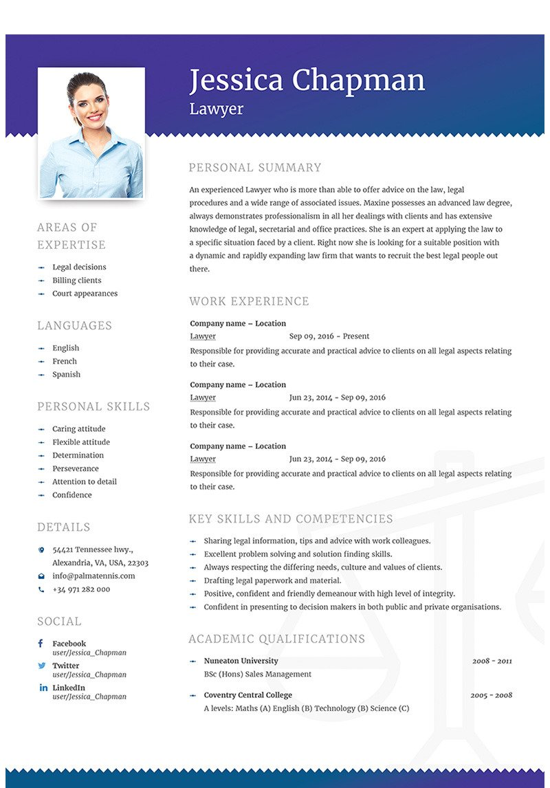Jessica Chapman Lawyer Cv Resume Template 64868