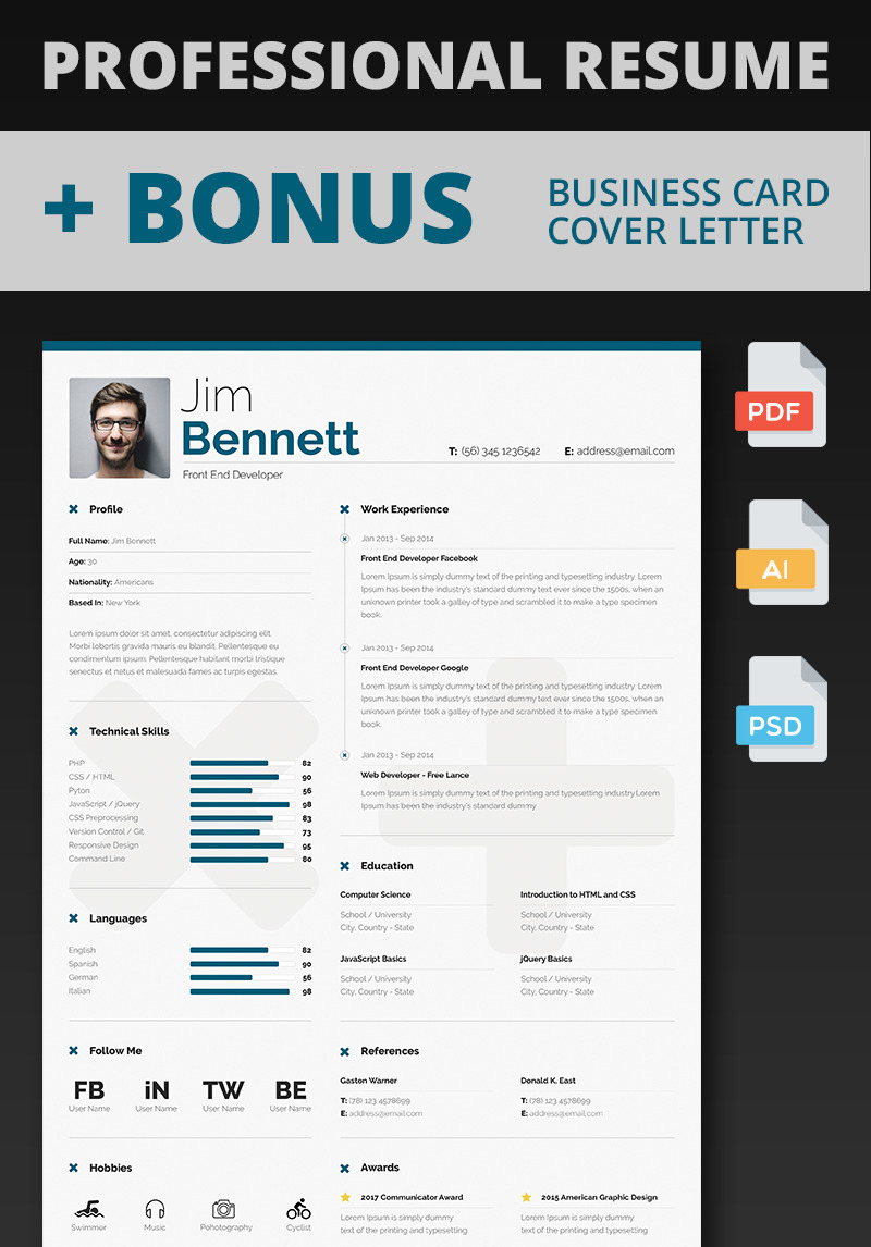 Jim Bennett Front End Developer Resume Template 65750