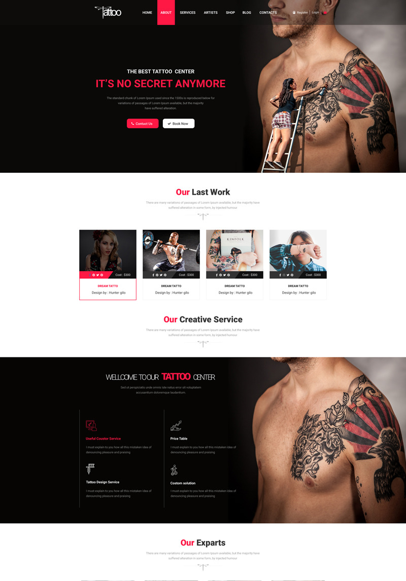 Tattoo Tattoo Studio Body Art Psd Template 66056