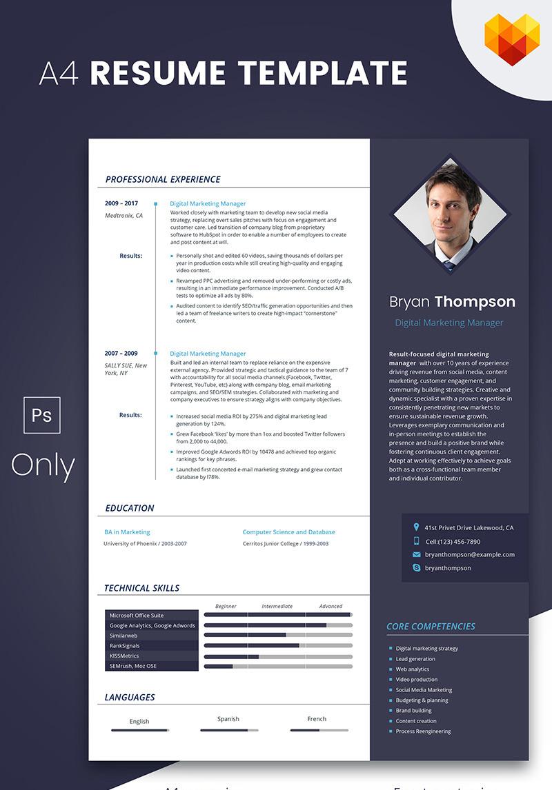 Bryan Thompson Digital Marketing Manager Resume Template 66792