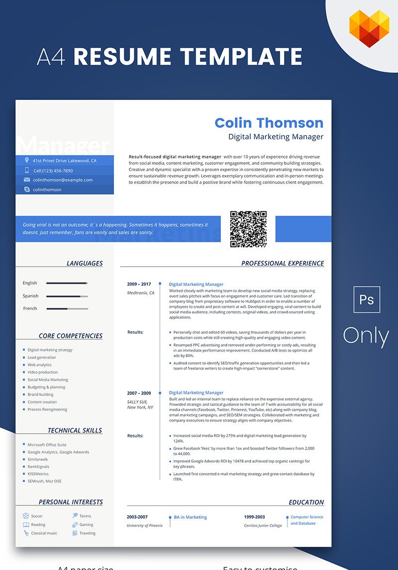 Colin Thompson Digital Marketing Manager Resume Template 66793