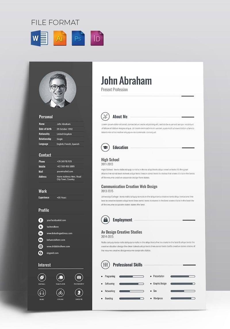 minimal creative cv resume template  67714