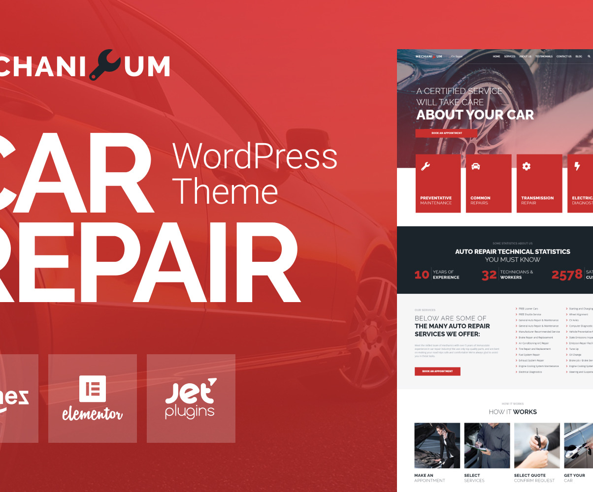 Mechanicum Car Repair Wordpress Elementor Theme