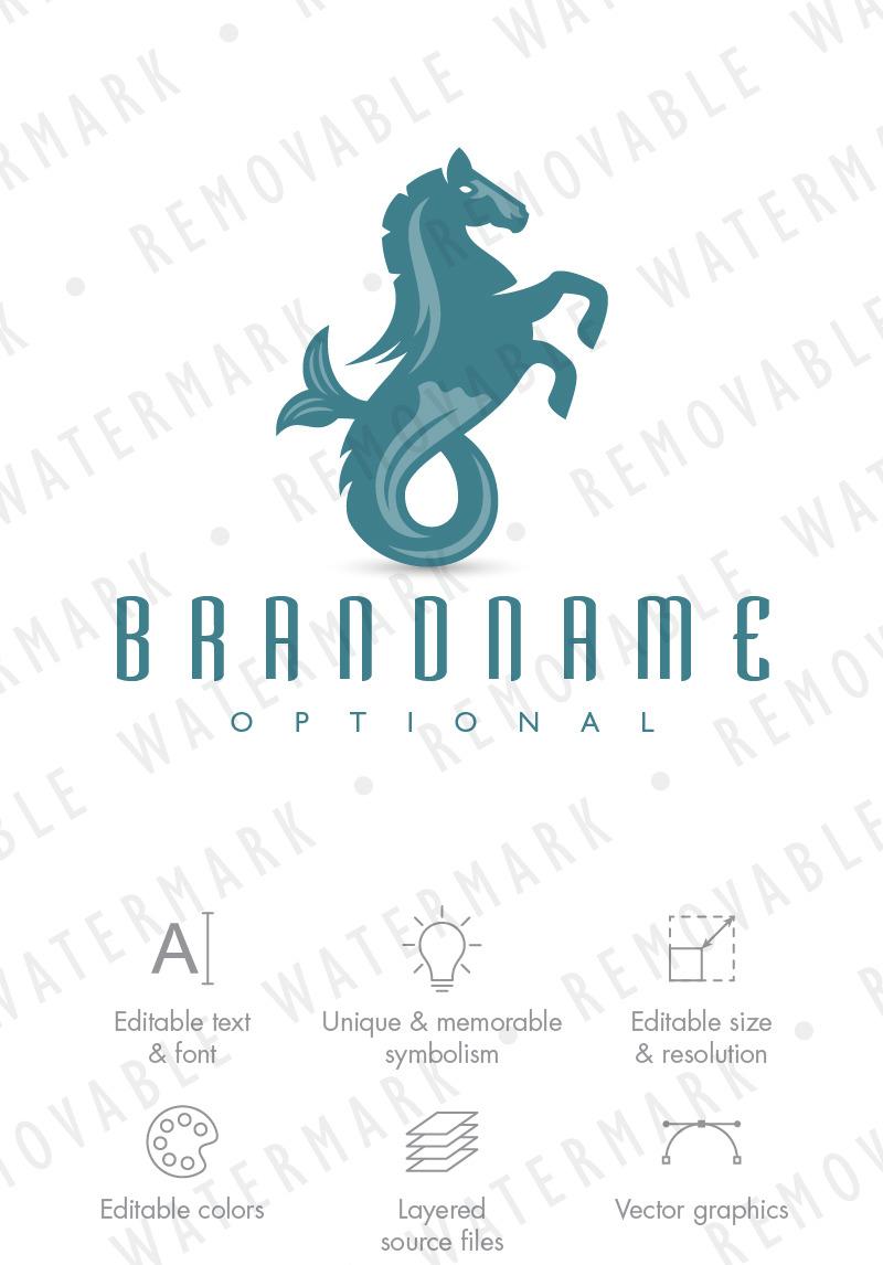 Hippocampus Sea Horse Logo Template 75362