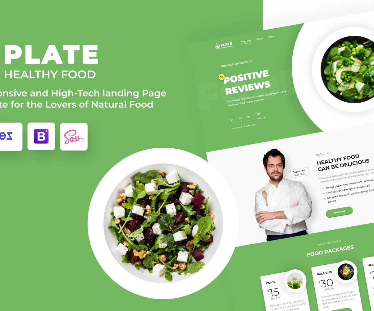 Plate Food Delivery Landing Page Html Template