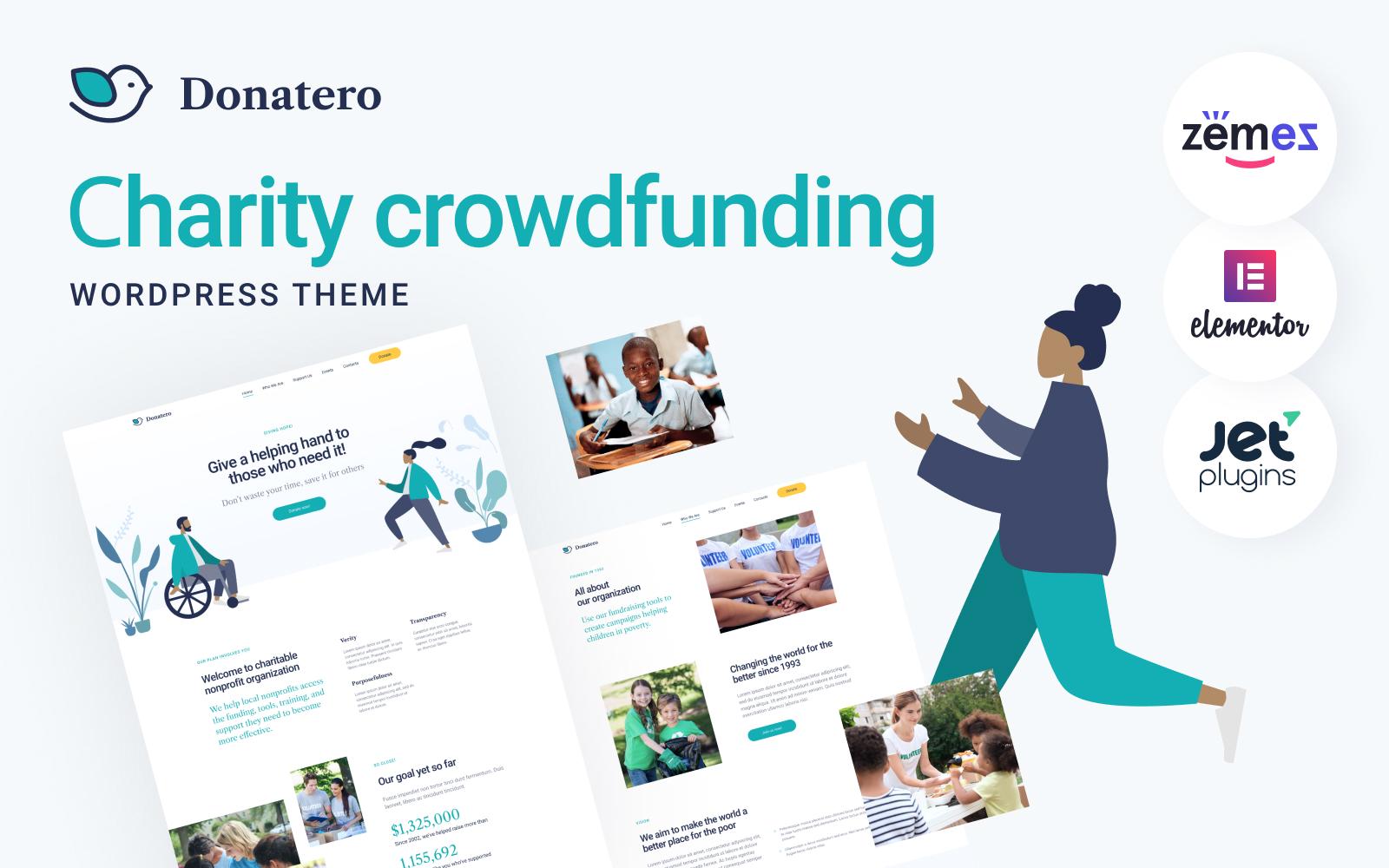 Donatero - Charity Crowdfunding Tema WordPress №120709
