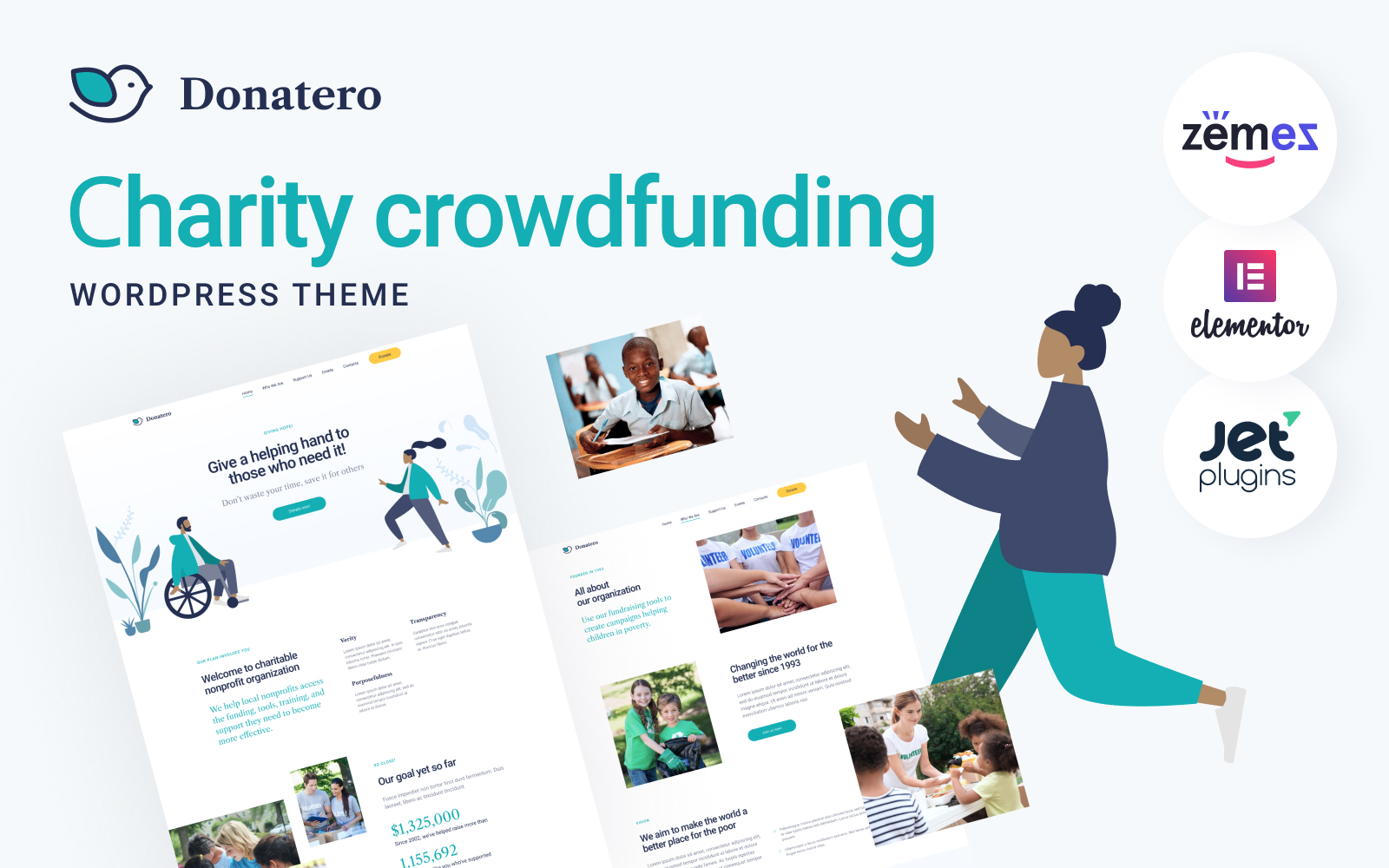 """Donatero - Charity Crowdfunding"" - WordPress шаблон №120709"