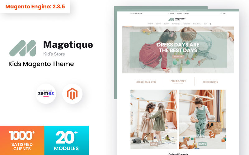 """Magetique Kids Store"" Responsive Magento Thema №120708"