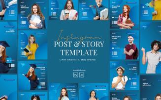 Elegant School Instagram Post and Story Social Media Template