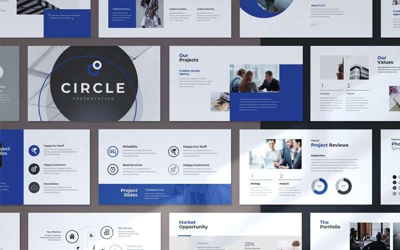 The Circle Minimal Presentation PowerPoint template PowerPoint Template