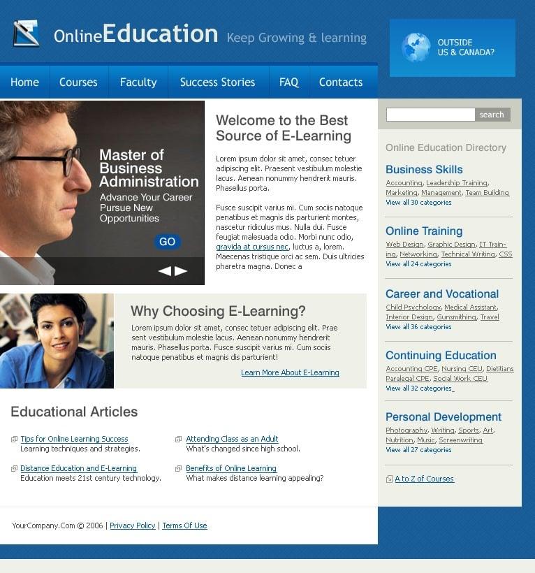 educational websites templates