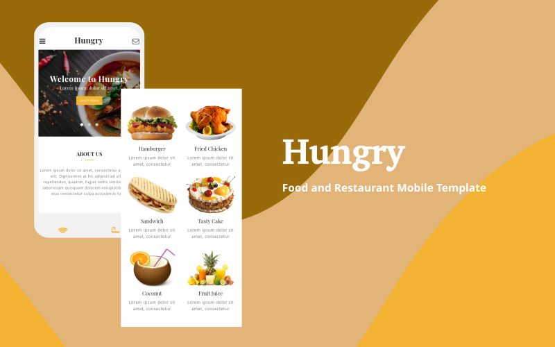 Hungry - Food and Restaurant Mobile Website Template