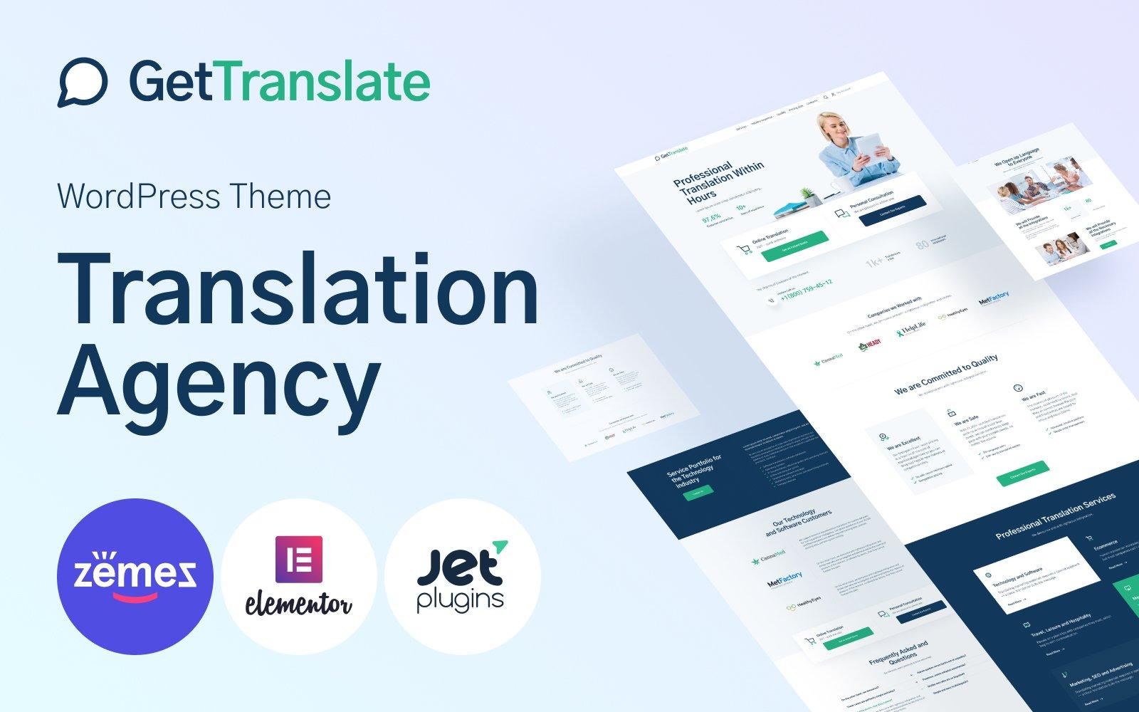 GetTranslate - Translation Agency WordPress Theme
