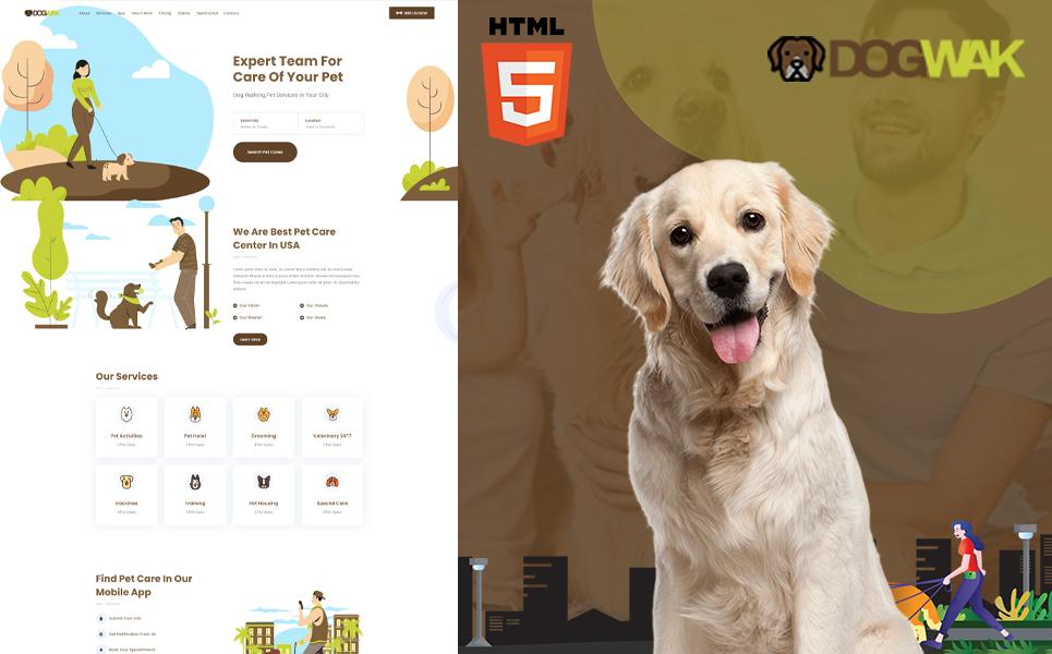 """""""Dog Wak - Dog Walking"""" - адаптивний Шаблон цільової сторінки №121042"""