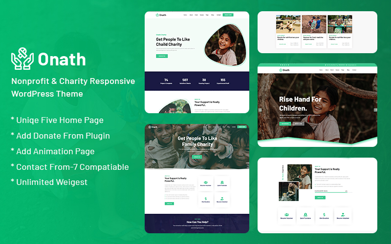 """Onath - Nonprofit and Charity Responsive"" Responsive WordPress thema №121038"