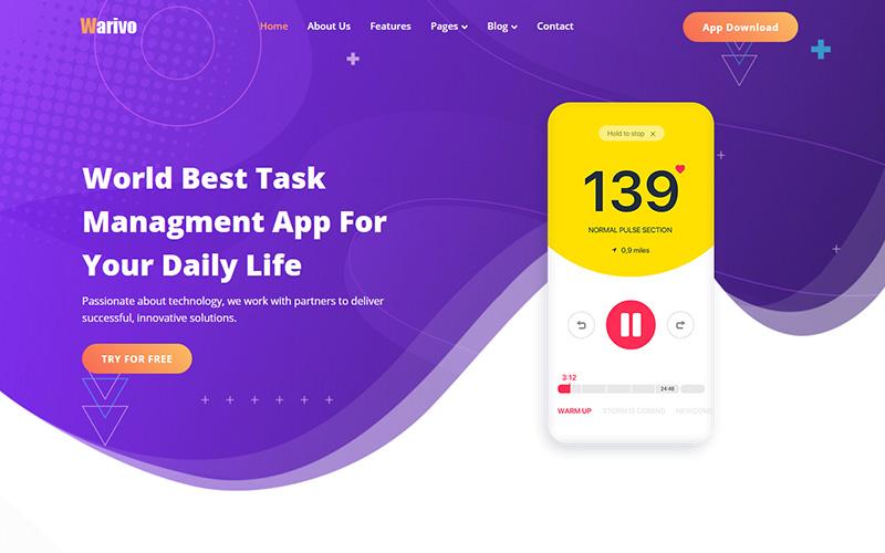 Responsivt Warivo - App & Software Company Website Template Hemsidemall #121058