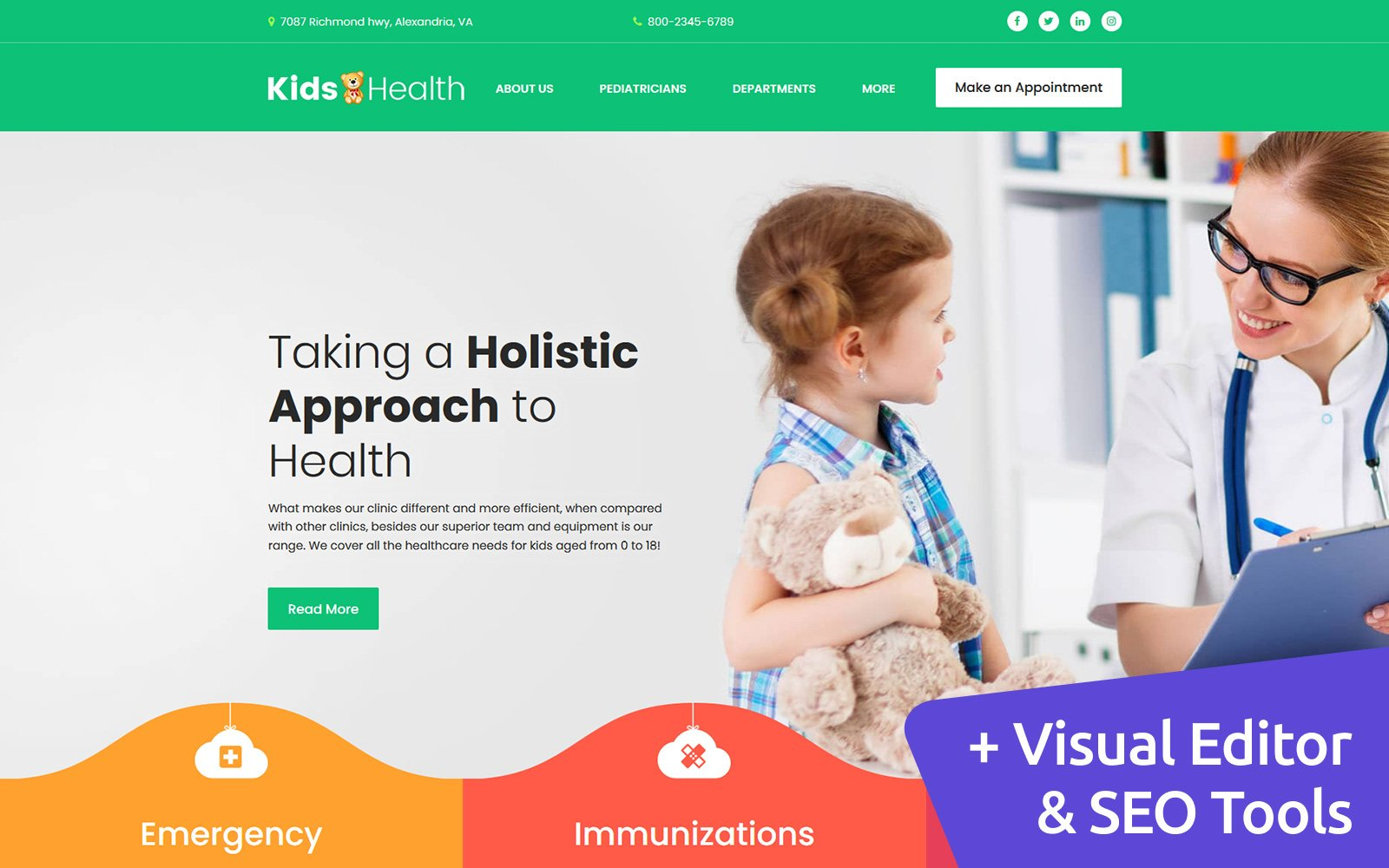 Reszponzív KidsHealth - Kids Clinic Moto CMS 3 sablon 121056