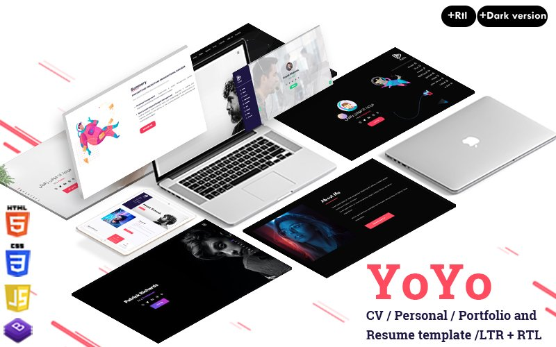 Reszponzív Yoyo - Portfolio/CV/Resume Nyítóoldal sablon 121053