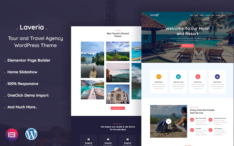 "Tema WordPress Responsive #121062 ""Laveria – Tour and Travel Agency"""