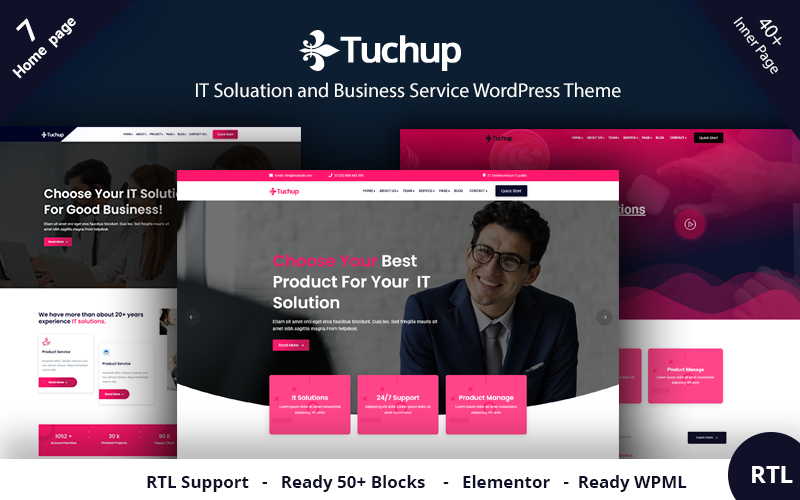 """""""Tuchup - It Solution Service and Business"""" Responsive WordPress thema №121043"""