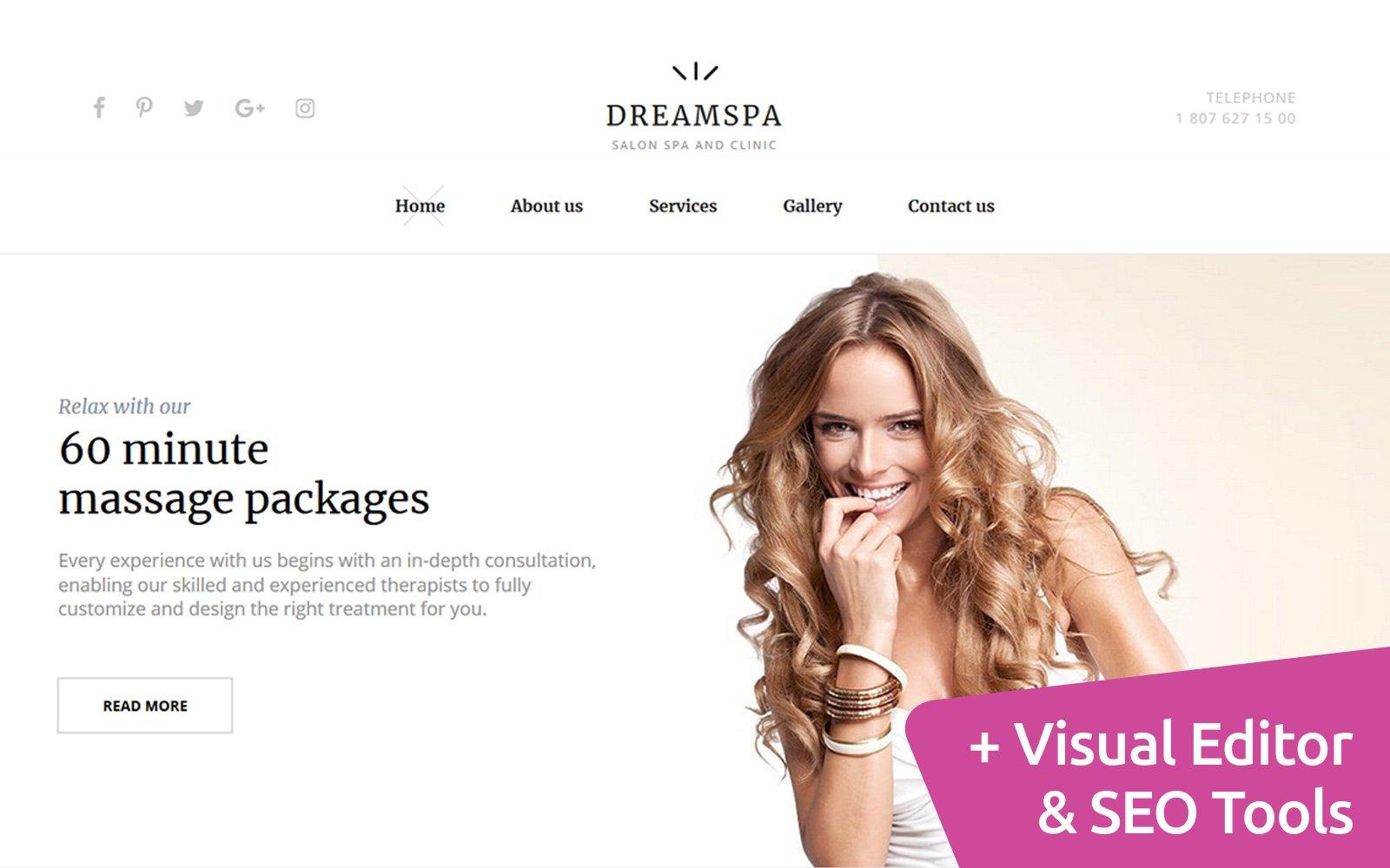 Responsivt DreamSpa - Spa Health & Skincare Moto CMS 3-mall #121304