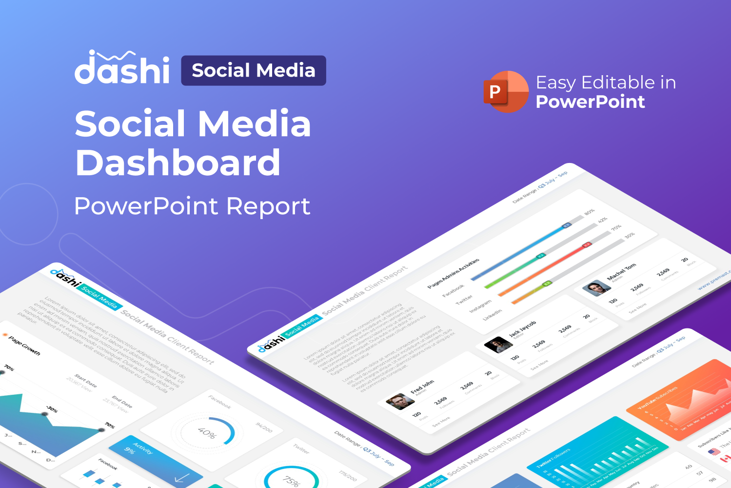 Dashi Social Media – Dashboard Report Presentation PowerPoint Template