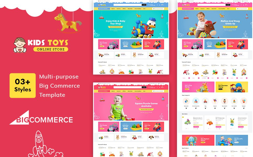 """Kid's Toy Stencil Multi-Purpose Responsive"" 响应式BigCommerce Theme #121466"